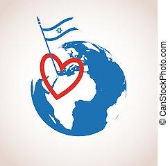heureux, amour, israel., jour indépendance