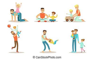 heureux, amusement, ensemble, illustration, mignon, vecteur, avoir, pères, leur, apprécier, jouer, bon temps, gosses