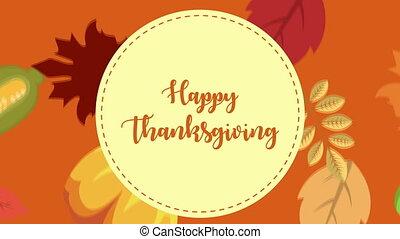 heureux, animation, dessin animé, thanksgiving, célébration