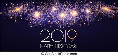heureux, année, nouveau, 2019, fireworks., fond, sparklers