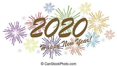 heureux, année, nouveau, 2020, concept, feux artifice