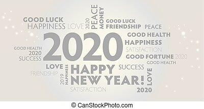 heureux, année, nouveau, 2020, fond blanc, gris