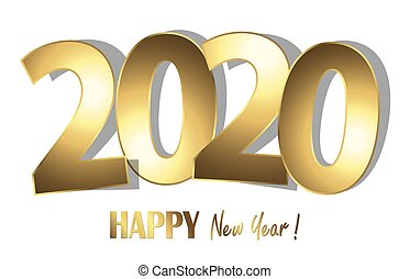 heureux, année, nouveau, 2020, fond, salutations
