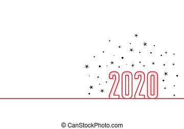 heureux, année, nouveau, conception, minimal, 2020, style, ...