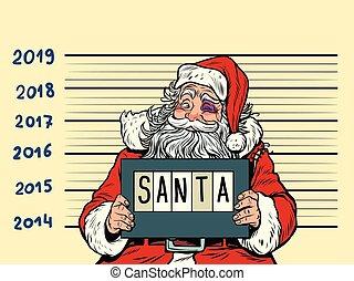 heureux, année, nouveau, santa, claus., 2019, arrêté, ...
