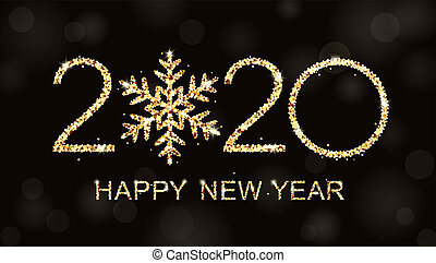 heureux, année, nouveau, texte, logo, design., 2020