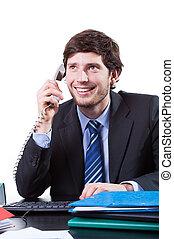 heureux, appeler, fonctionnement, homme affaires