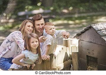 heureux, apprécier, famille, nature