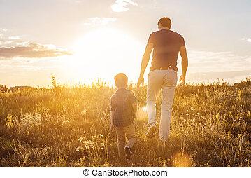 heureux, apprécier, pré, famille, promenade