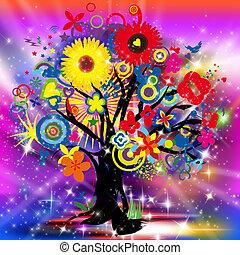 heureux, arbre, vie