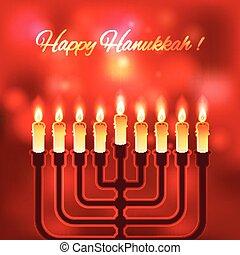 heureux, arrière plan flou, hanukkah