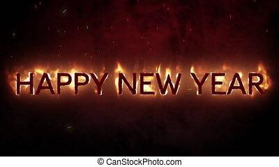 heureux, arrière-plan noir, flammes, année, nouveau