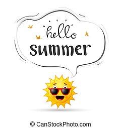 heureux, arrière-plan soleil, dessin animé, été