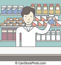 heureux, asiatique, pharmacist.