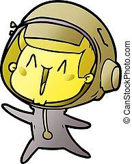 heureux, astronaute, saut, dessin animé