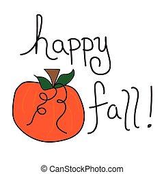 heureux, automne, citrouille