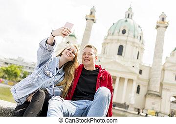 heureux, autoportrait, amour, photo, selfie, jeune, prendre, dater, couple, vienne