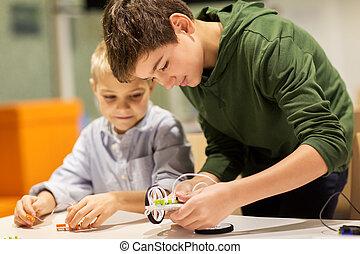 heureux, bâtiment, robotique, robots, écoliers
