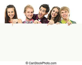 heureux, bannière, groupe, gens