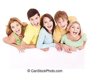 heureux, bannière, groupe, tenue, gens