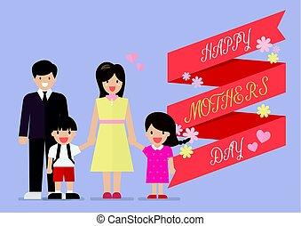 heureux, bannière, jour, famille, mères