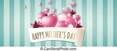 heureux, bannière, jour, mères
