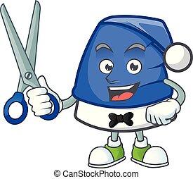 heureux, bleu, style, caractère, mascotte, coiffeur, noël, dessin animé, chapeau