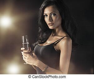 heureux, boire, femme, rire, champagne