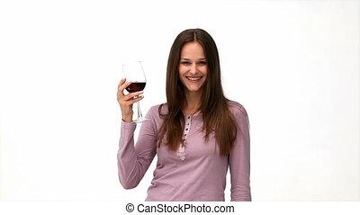 heureux, boire, femme, vin rouge