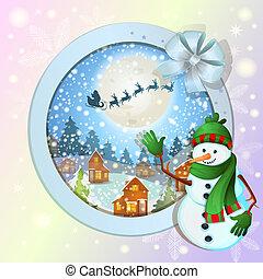 heureux, bonhomme de neige