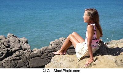 heureux, bord, gosse, rivage, extérieur, falaise