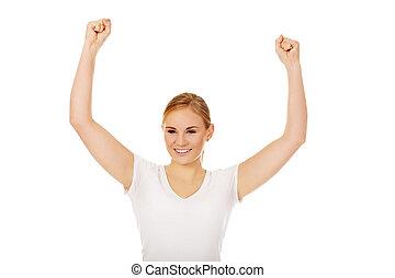 heureux, bras, femme, jeune, haut