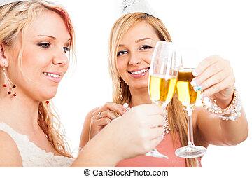 heureux, célébration, femmes