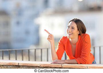 heureux, côté, touriste, pointage, balcon