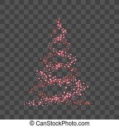 heureux, card., éclat, lumière, symbole, decoration., arbre, illustration, transparent, année, arrière-plan., clair, vecteur, celebration., joyeux, nouveau, vacances, noël, rouges, design.