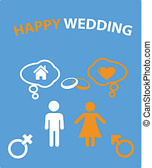 heureux, carte, mariage