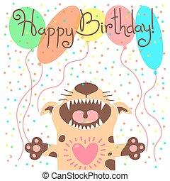 heureux, carte, mignon, anniversaire, puppy., rigolote