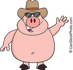 heureux, chapeau cowboy, cochon