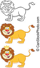 heureux, character., lion, collection
