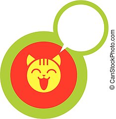 heureux, chat, icône, figure