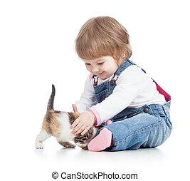 heureux, chaton, jouer, gosse, chat