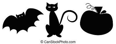 heureux, chauve-souris, chat, halloween, citrouille