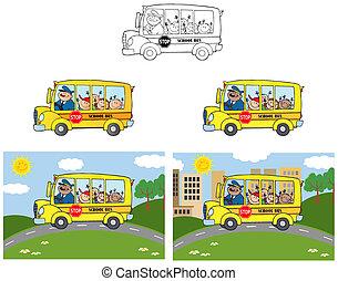 heureux, children., autobus, collection