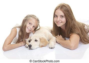 heureux, chiot, chien, enfants