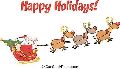 heureux, claus, fetes, santa