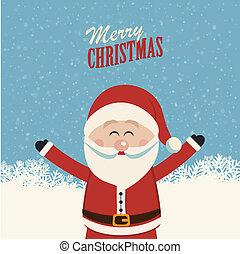 heureux, claus, vague, santa, mains