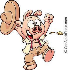 heureux, cochon, paysan