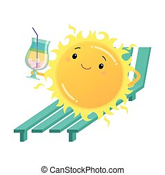 heureux, cocktail, sunbed, illustration, tenue, soleil