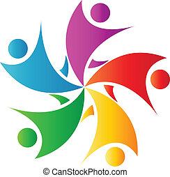 heureux, collaboration, logo, vecteur