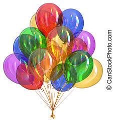 heureux, coloré, balloon, multicolore, fêtede l'anniversaire, balloons., tas